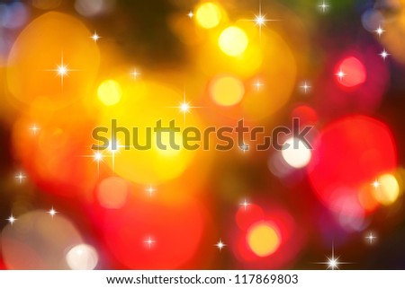 Christmas background of holiday lights with stars - stock photo