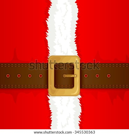 Christmas background of Santa suit with belt and gold buckle, illustration. - stock photo