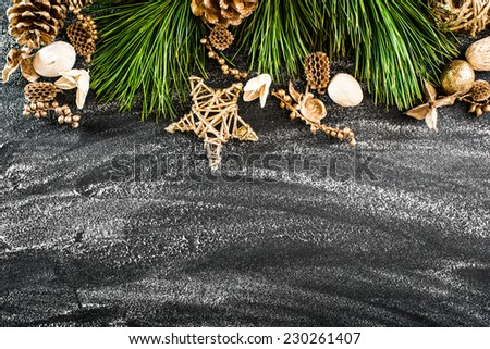 christmas background  on a black table - stock photo