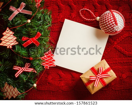 Christmas background. Postcard on red - stock photo