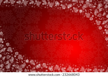 christmas background red and white with snow - stock photo