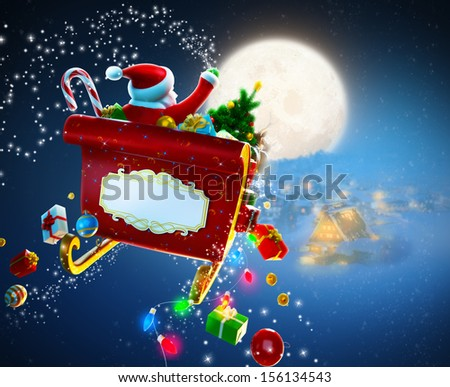 Christmas background. Santa Claus flies by sleigh above houses - stock photo