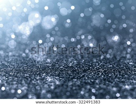 Christmas Background. Silver Holiday Abstract Glitter Defocused Background With Blinking Stars. Blurred Bokeh - stock photo