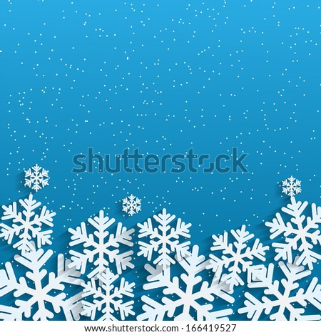 Christmas background.White snowflakes on blue background.background for New Year's greetings.winter abstraction.raster - stock photo
