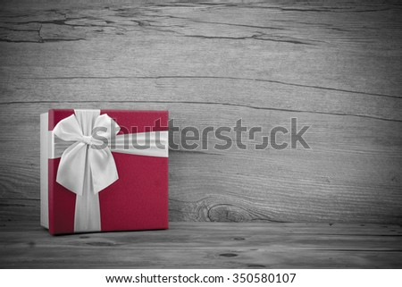 Christmas background with a ornaments, red gift box - stock photo