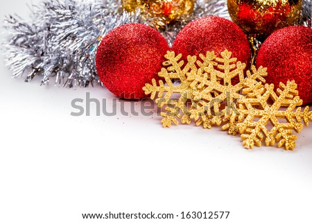 Christmas background with balls and nice decorations - stock photo