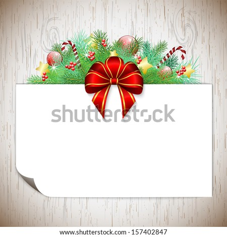 Christmas background with branches, ribbon and decorations, with wood texture, bitmap copy - stock photo