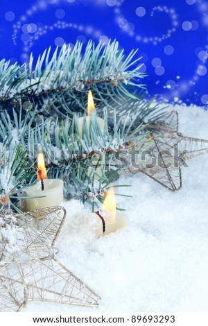 Christmas Background with Burning Candles - stock photo