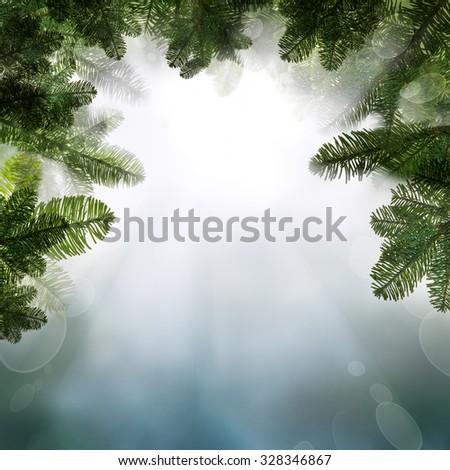 Christmas Background with Christmas Background Border with Night Sky and Xmas Tree Twig - stock photo