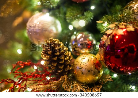 Christmas background with christmas balls - Soft focus - stock photo