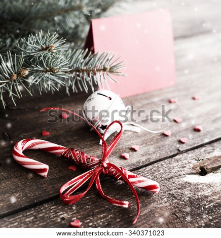 Christmas background with christmas decoration - stock photo