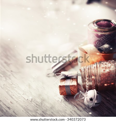 Christmas background with christmas decorations and candles /  toned picture/ selective focus - stock photo