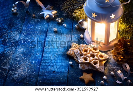 Christmas background with christmas light and festive decoration - stock photo