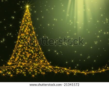 Christmas background with Christmas tree - stock photo