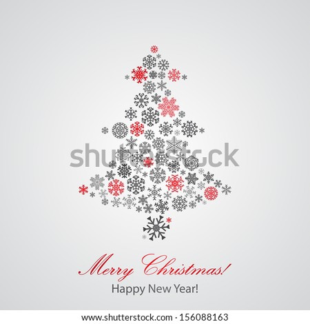 Christmas background with Christmas tree from snowflakes. Raster version. - stock photo