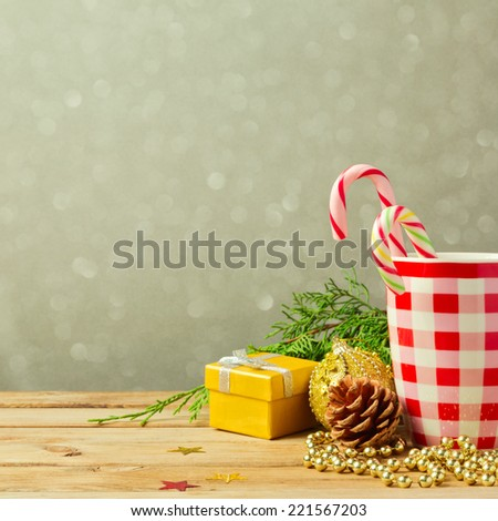 Christmas background with cup and decorations - stock photo
