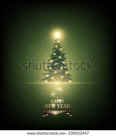Christmas Background With Fir, Stars And Title Inscription - stock photo