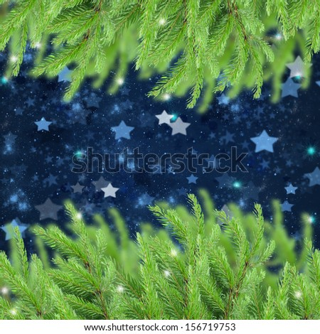 christmas background with fir tree frame  and stary night sky - stock photo