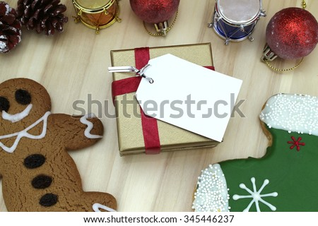 Christmas background with gift cards - stock photo