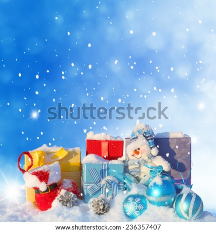 Christmas background with gifts - stock photo