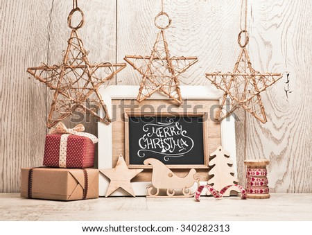 Christmas background with gifts and stars - stock photo