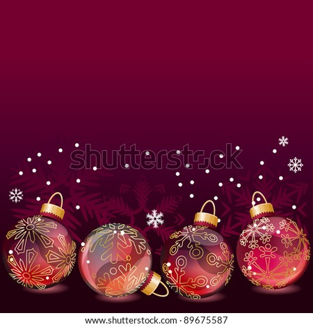 Christmas background with glass balls and contour snowflakes.  Raster version - stock photo