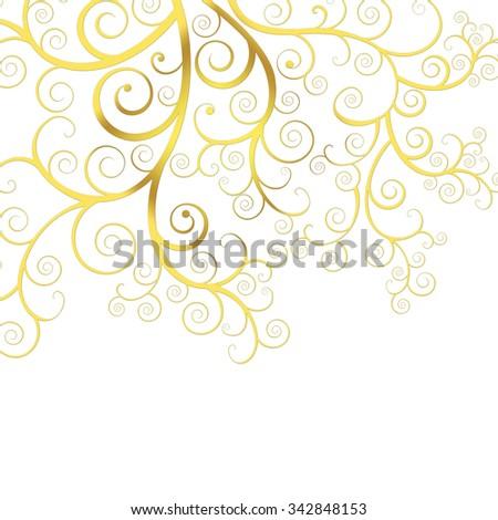 Christmas background with golden swirls - stock photo