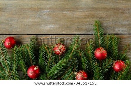 christmas background with green branch, top view - stock photo