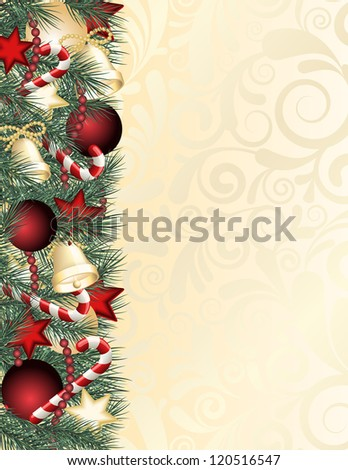 Christmas background with green branches. - stock photo