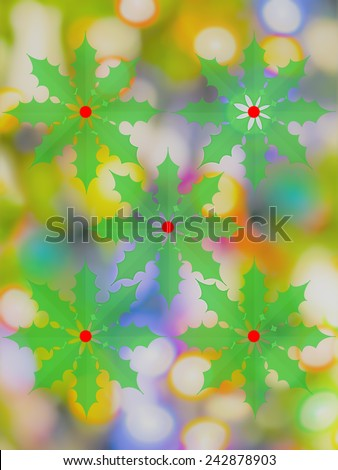 Christmas background with holly and lights and bright colors - stock photo