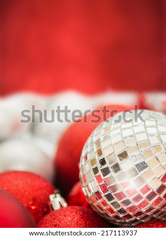 Christmas background with  mirror ball  - stock photo