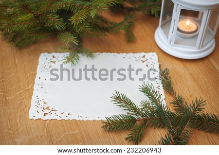 Christmas background with place for your text, frame of trees. - stock photo