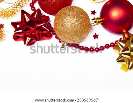 Christmas background with red and gold balls, Isolated over white. - stock photo