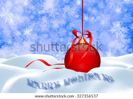 Christmas background with red ball, snow and snowflakes. - stock photo