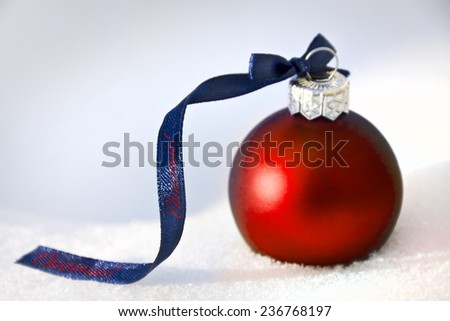 christmas background with red bauble - stock photo