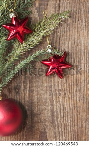 Christmas background with red decoration - stock photo