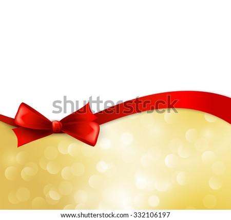 christmas background with ribbon and bow - stock photo