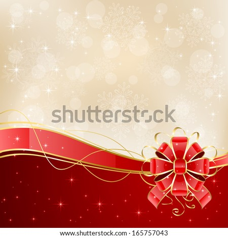 Christmas background with shiny red bow, illustration. - stock photo