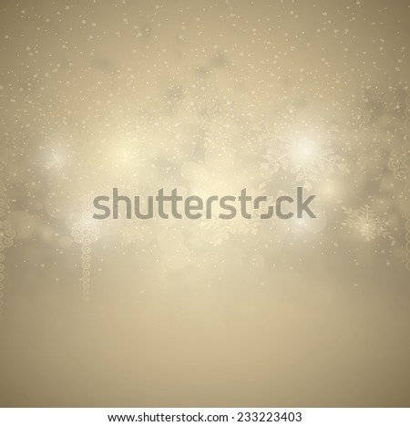 Christmas Background With Snow And Snowflakes - stock photo