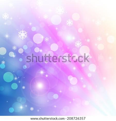 Christmas background with snowflake and bokeh lights - stock photo