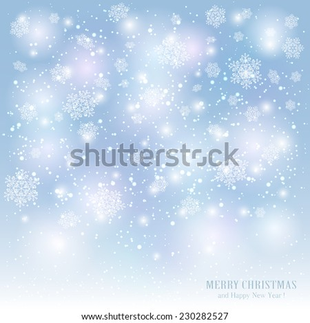 Christmas background with snowflakes and blurry lights, illustration. - stock photo