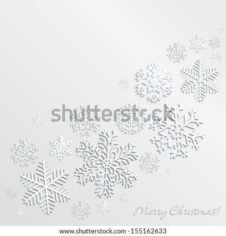 Christmas background with snowflakes of different shapes and sizes. Raster version. - stock photo