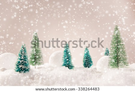 Christmas background with spruce trees and snow balls. - stock photo
