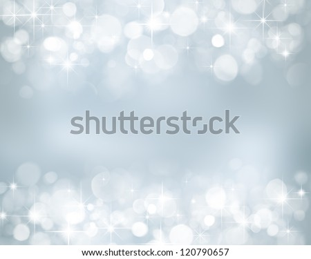 Christmas background with stars and bokeh lights - stock photo