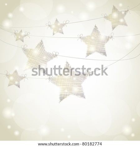 Christmas background with stars hanging from ribbons - stock photo