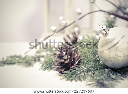Christmas background with swow - stock photo