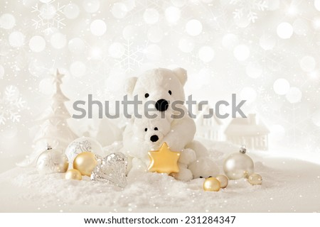 christmas background with teddy bears - stock photo