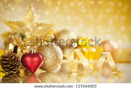 christmas background with various ornaments and shallow depth of field - stock photo
