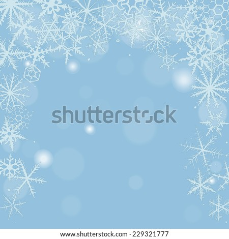Christmas background with various snowflakes. - stock photo