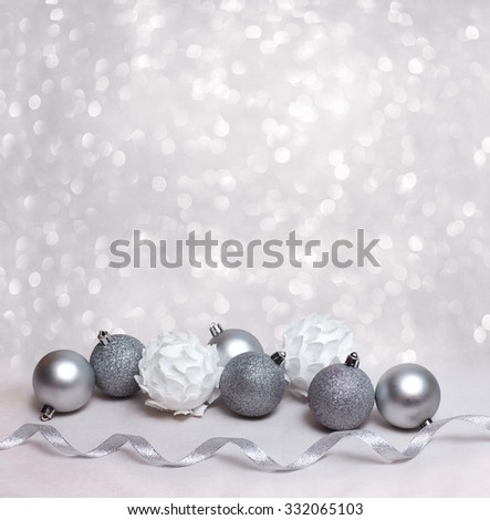 Christmas background with white christmas balls and free place for your text - stock photo